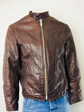 VTG The Leather Warehouse Men's Brown Genuine Leather Motorcycle Jacket Size 42