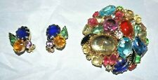 Chunky Dome Multi Color Brooch Pin & Clip Earrings Vintage