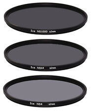 ICE 62mm 3 Filter Set ND1000  ND64  ND8 Neutral Density ND 62 Optical Glass Thin