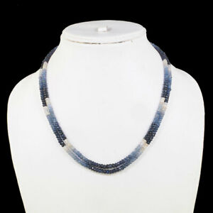 2 Strands Natural Blue Sapphire Necklace Shaded Faceted Beads 925 Silver Clasp