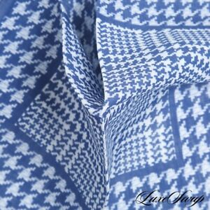 NWOT Made in Italy 100% Linen Indigo Static Concentric Houndstooth Pocket Square
