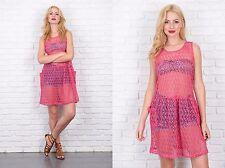 Vintage 80s Pink Sheer Dress Retro Mini Slouchy Large L