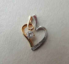 Cubic Zirconia and Sterling Silver and Gold Plated Heart Pendant