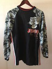 JNCO Men's Large Long Sleeved Shirt Black Camouflage Tiger Red Blood Drops