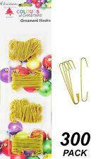 300 Pack Wire Christmas Ornament / Bauble Hooks - Metal - Yellow / Gold