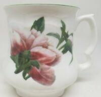 David Michael England Staffordshire bone china pink floral mug footed tea cup