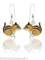 Chipmunk Earrings - 925 Sterling Silver Ear Wires NEW Dangle Hand Painted