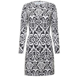 NWT Ladies IBKUL DOREEN Black & White Long Sleeve Crew Golf Dress XS S M XL