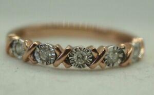 100% Genuine 9k Solid Rose Gold XOXO Hugs & Kisses Diamond Eternity Ring SZ 5.75