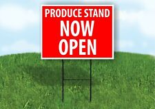 Produce Stand Now Open Red Plastic Yard Sign Road Sign with Stand