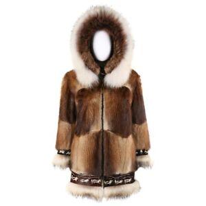 DAVID GREEN Genuine Fur Hooded Zip Front Alaskan Parka Coat