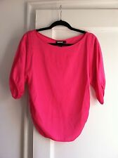 DKNY Neon Hot Pink Silk Boat Neck Blouse w/Ruched Sides, Size 2