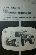 John Deere 110 112 Round Fender Garden Tractor Snow Blower Owners Manual 63'-67'