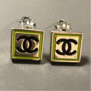 Auth CHANEL CC Logo Square Clip On Earrings Silver/Black/Yellow Green Used F/S