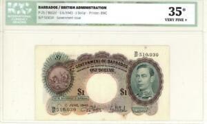 Barbados $1 Dollar Currency Banknote 1943 ICGS 30 VF