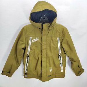 Kids Youth Spyder Ski Snowboard Jacket Size 8 Olive Green Hooded Full Zip