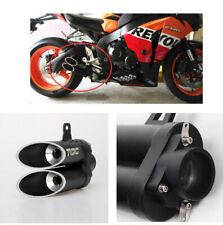 Universal 38-51mm Motorcycle ATV Bombing Street Exhaust Pipe Muffler Dual Hole