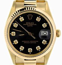 Rolex Date 15037 Men Solid 14K Yellow Gold Watch President Style Band White Dial