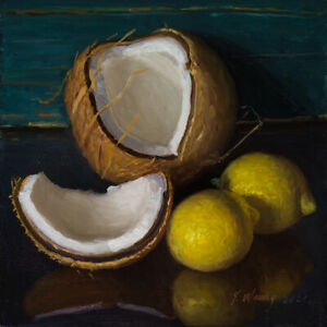 Original still life oil painting a day realism coconut lemon 8x8 Y Wang fine art