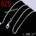 New Women 925 Sterling Silver 1.4MM Long Pendant Necklace Chain Jewelry