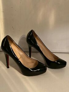 BLACK PATENT CHRISTIAN LOUBOUTIN HEELS - SIZE 37.5 - USED