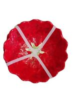 Maxcera Poinsettia Shaped Embossed Appetizer Dessert Dipping Bowls Red Set of 3