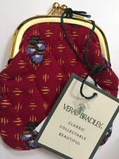 Retired Vera Bradley Provincial Red Kisslock Coin Purse Rare!