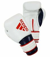 Adidas Hybrid 300X Reborn Boxing Gloves Leather Sparring White Red Blue 10-18 oz