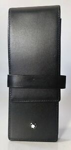 MONT BLANC Pen Pouch Meisterstuck Black Three CALFSKIN LEATHER CASE MADE ITALY