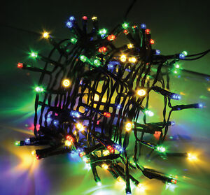50 LED multi coloured fairy decorative lights Christmas XMAS with free batteries