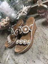 JACK ROGERS Leigh Wedge Sandals SOLD OUT Size 9 Cork White Hard to find shoes