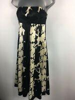 BNWT WOMENS MONSOON BLACK CREAM FLORAL SILK STRAPLESS OCCASION DRESS UK 8 £135