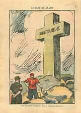 Caricature Anti-Nazi & Communiste Cross Croix Granit Christian 1937 ILLUSTRATION