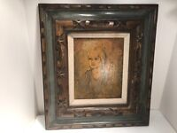 VINTAGE MULTIMEDIA ON CANVAS LADY PORTRAIT PAINTING
