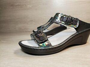 Alegria LAR-372 size 40 US sz 9.5/10 leather sandal black adjustable strap (a32