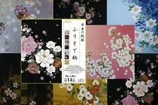 JAPANESE ORIGAMI PAPER Folk Art Chiyogami Washi Flowers 7 designs 14 pcs 15x15cm