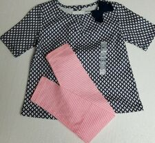 Girls 2PC Outfit Top & Pink Striped Leggings Navy Pink Dressy Casual 2T Carters
