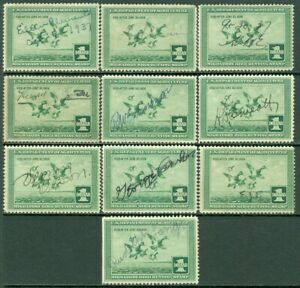 EDW1949SELL : USA 1937 Scott #RW4 Used. 10 stamps. Small faults. Retail