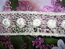 "4.yd  Vintage Venise Lace Trim  3/4"" Edge  Mini Circle Mesh Ivory Edge #719"