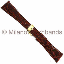 14mm Band-It Genuine Crocodile Brown Flat Stitched Ladies Watch Band Italy