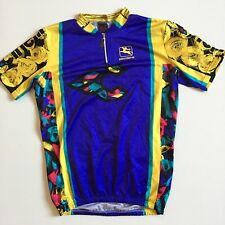 343f81aed Vtg Giordana Italy Cinelli Mens L Large Blue Yellow 1 4 Zip Cycling Jersey