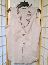 New York and Company Stretch Womens Ruffled Blouse Top Tan White Striped Sz XL