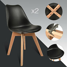 Set of 2 Modern Dining Room Chair Pu Leather Comfortable Cushion Seat Wood Leg