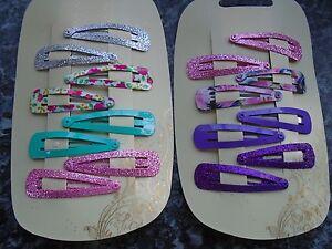 Pack 8 glitter & floral hair bendies 4.8cm metal sleepies plain snap clips grips