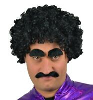 BROWN CURLY AFRO STYLE FANCY DRESS WIG /& DROOP BIKER SELF ADHESIVE MOUSTACHE.