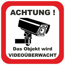3x ACHTUNG Videoüberwachung Aufkleber Warnaufkleber Kamera UV Wetterfest ab 5x5