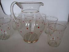 Saftkrug mit 6 Gläsern, Vintage, Glas mit stilisiertem Blumenmuser, Goldränder