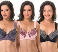 Curve Muse Plus Size Unlined Minimizer, Black-pink-grey(3 Pack), Size 48DDD VEwF