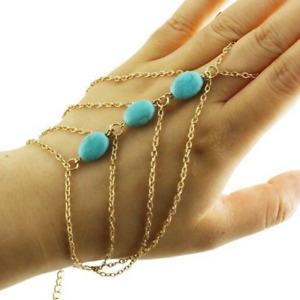 Body Antique Turquoise Gold Hand Chain Harness Slave Bracelet Anklet Tassel UK
