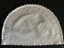 More details for beautiful vintage white tea cosy cover~ lovely lace trim & inserts.